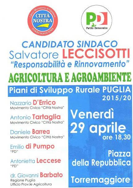 Agricoltura e Agroambiente, se ne parla il 29 aprile 2016 in Piazza della Repubblica con la coalizione Città Nostra – PD