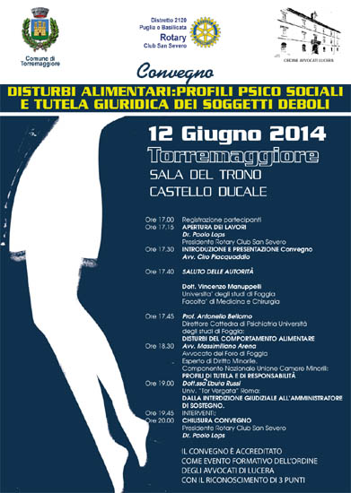 Convegno sui disturbi alimentari il 12 giugno 2014 a Torremaggiore