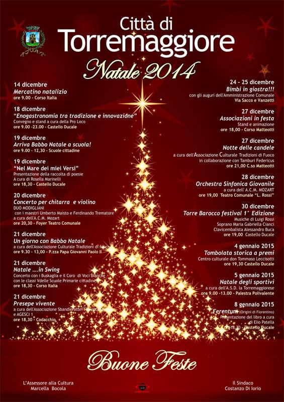 Programma completo iniziative natalizie a Torremaggiore dicembre 2014 e gennaio 2015