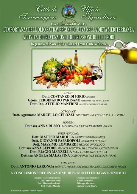 """Convegno """"l'importanza dell'olio extravergine d'oliva nella dieta mediterranea"""", a Torremaggiore il 16 gennaio 2015"""