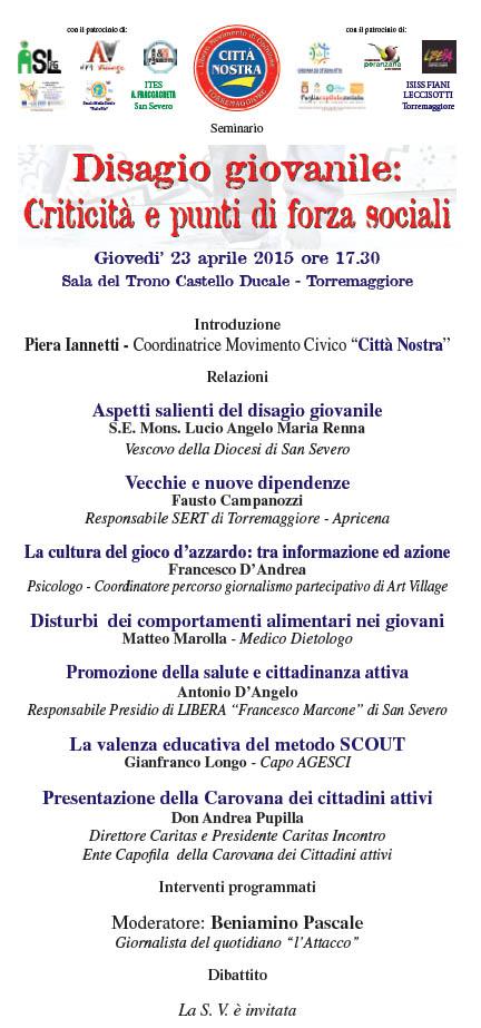 Disagio giovanile: criticità e punti di forza sociali, se ne parla a Torremaggiore il 23 aprile 2015