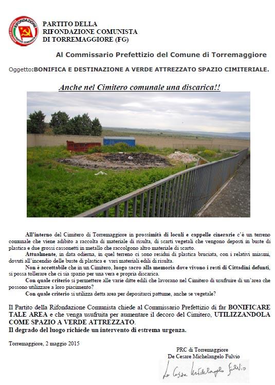PRC Torremaggiore: anche nel Cimitero Comunale una discarica !!!
