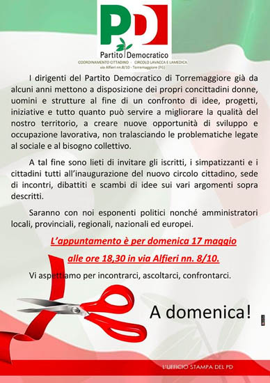 Pd Torremaggiore: inaugurazione nuova sede il 17 maggio 2015  presso Via Alfieri 10