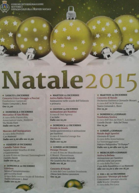 Programma Eventi Natale 2015 del Comune di Torremaggiore