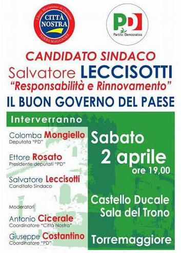 Il candidato sindaco Salvatore Leccisotti il 2 aprile 2016 al Castello Ducale De Sangro per parlare di buon governo
