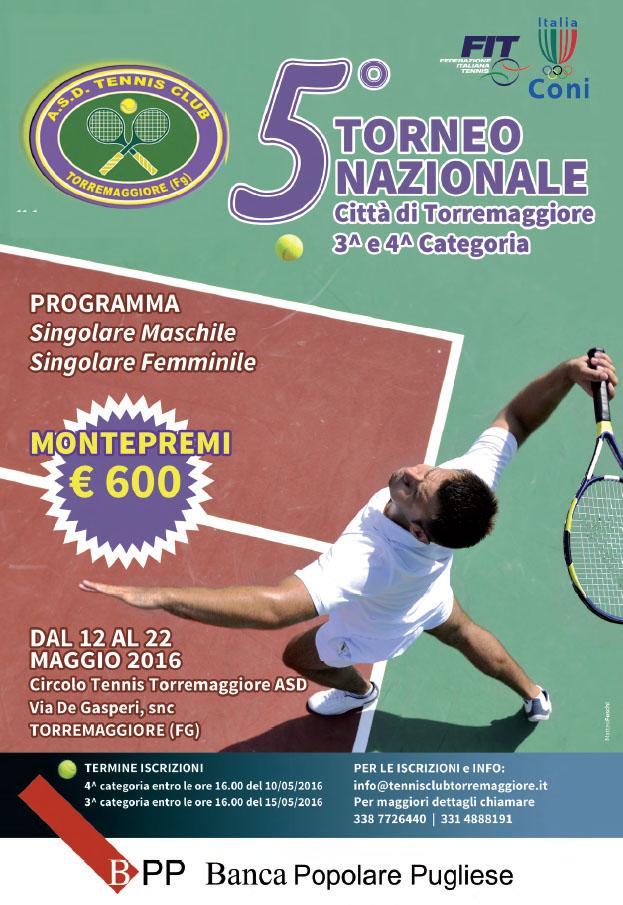 5° Torneo Nazionale Città di Torremaggiore 3^ e 4^ Categoria TENNIS