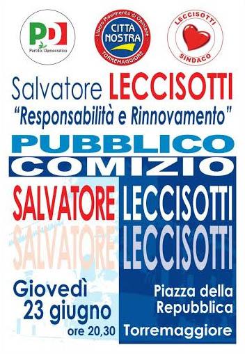 Comizio di ringraziamento di Salvatore Leccisotti il 23 giugno 2016