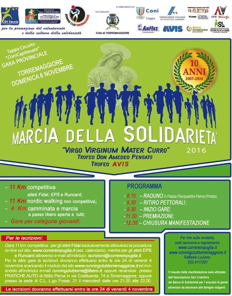 10° Edizione della Marcia della Solidarietà il 6 novembre 2016 a Torremaggiore