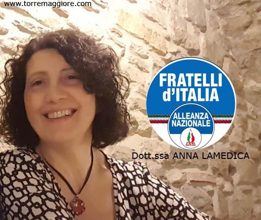 Ufficiale: Anna Lamedica aderisce a Fratelli d'Italia Alleanza Nazionale