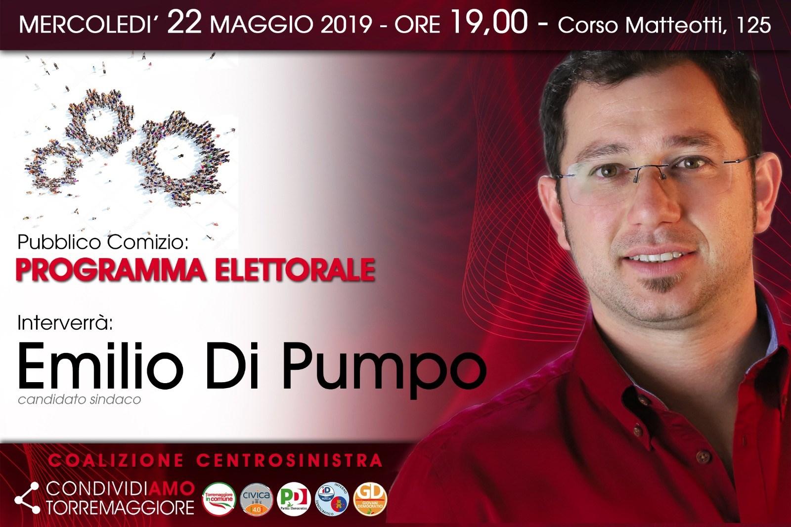 Il 22 maggio 2019 alle 19 pubblico comizio del candidato sindaco Emilio Di Pumpo