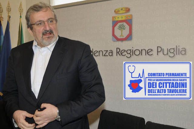 Il Comitato Salute Alto Tavoliere ha inviato una proposta formale al Governatore Michele Emiliano per venire a Torremaggiore al PTA San Giacomo