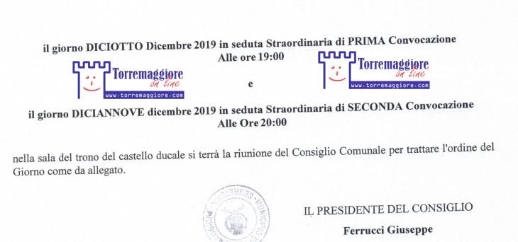 Torremaggiore: convocato il consiglio comunale in seduta straordinaria il 18 dicembre 2019 in prima convocazione con sei punti all'odg