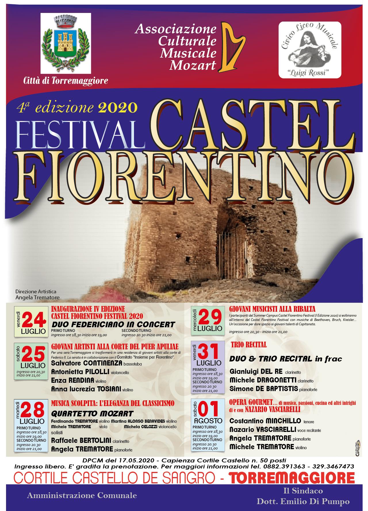 Quarta edizione di Castel Fiorentino Festival 2020 e Master Class promossi dall'Associazione Mozart di Torremaggiore dal 24 luglio al 1 agosto