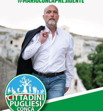 Gianluigi Paragone ed il candidato Presidente della Regione Puglia Mario Conca l'11 settembre 2020 a Torremaggiore su Corso Matteotti