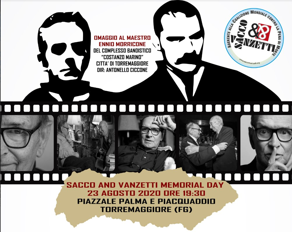 Programma Memorial Day Sacco and Vanzetti 23 agosto 2020 a Torremaggiore