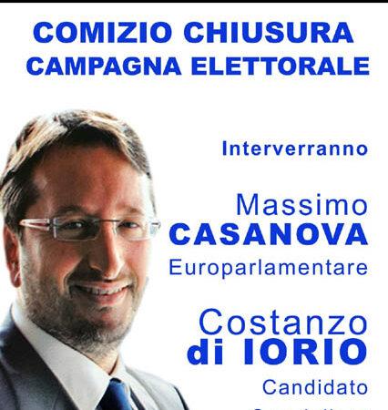 Il 18 settembre alle 20 comizio di chiusura della campagna elettorale per Costanzo Di Iorio con l'on Massimo Casanova per Fitto Presidente