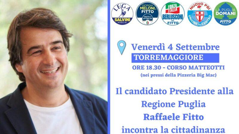 Raffale Fitto incontra la cittadinanza di Torremaggiore il 4 settembre 2020 su Corso Giacomo Matteotti