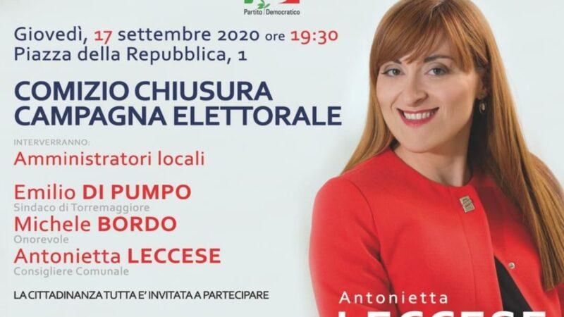 Il 17 settembre alle 19.30 comizio di chiusura dem della campagna elettorale per Antonietta Leccese con Emilio Di Pumpo e con l'on Michele Bordo