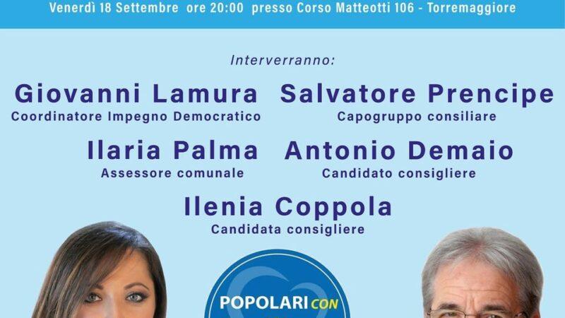 Regionali Puglia 2020: comizio di chiusura della campagna elettorale dei candidati Coppola e Demaio il 18 settembre a Torremaggiore per la lista Popolari con Emiliano
