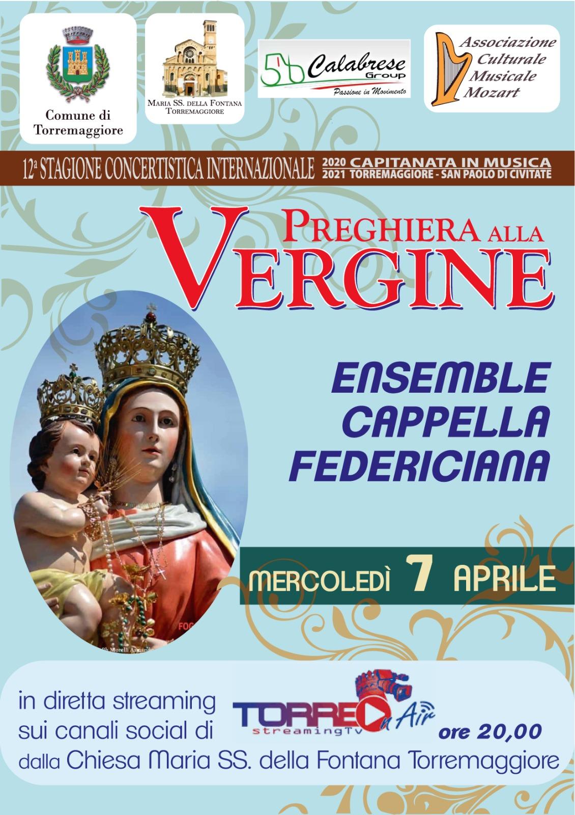 Concerto musicale Preghiera alla Vergine il 7 aprile 2021 alle ore 20 in diretta streaming su Torre on Air a cura dell'Associazione MOZART