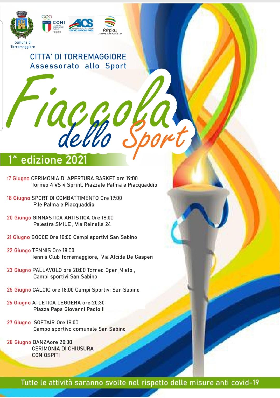 Prima edizione della Fiaccola dello Sport a Torremaggiore dal 17 al 28 giugno 2021