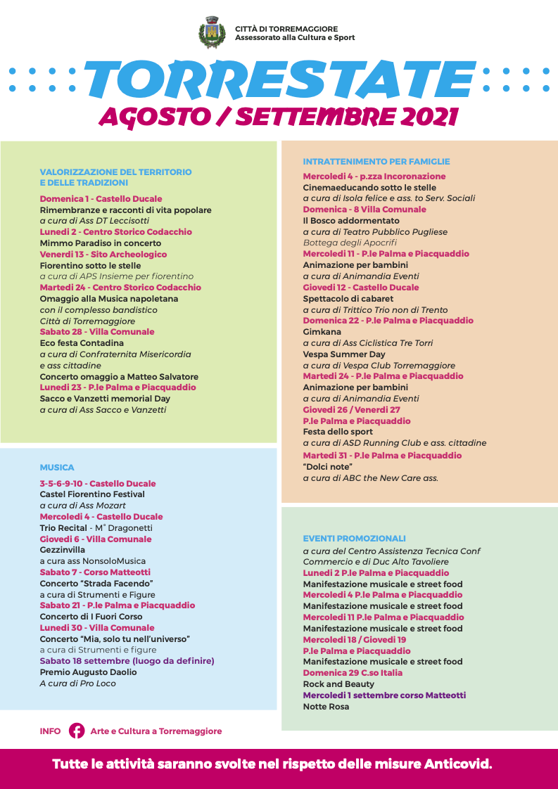 Cartellone eventi Torrestate agosto e settembre 2021