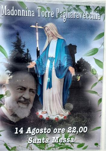 Santa Messa in onore di Maria Ss.ma dell'Assunta il 14 agosto 2021 alle ore 22 presso la Cappella della Madonnina della Torre di Pagliaravecchia a Torremaggiore