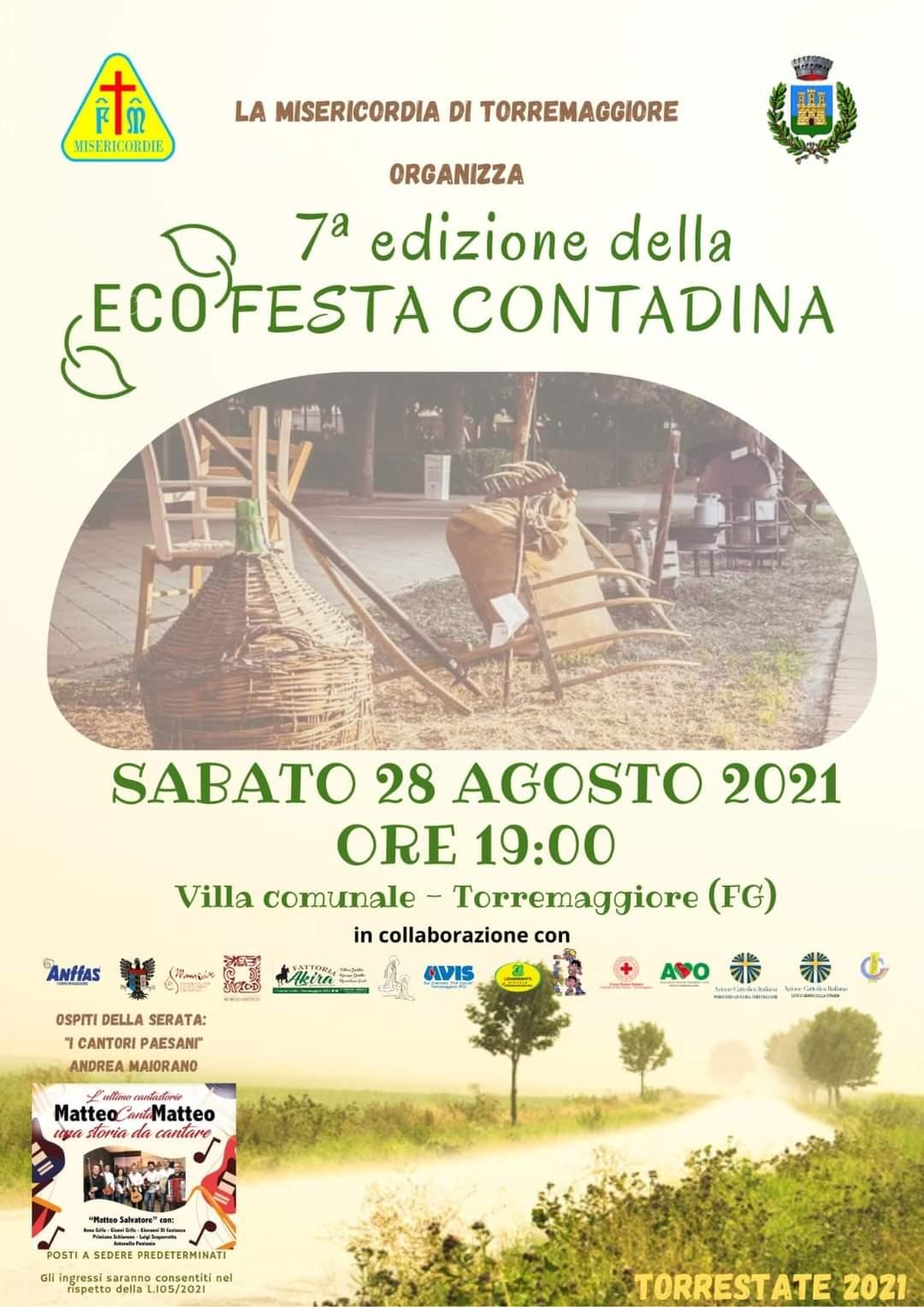 7^edizione della Festa Contadina il 28 agosto 2021 a Torremaggiore alla Villa Comunale Federico II di Svevia a partire dalle ore 19